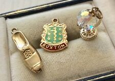 Good Lot of 3 x Vintage 9 Carat Gold Charms - Globe / Shoe / Buxton Charm
