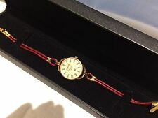 Ladies Gucci  Gold Tone Designer Wristwatch Unusual design Leather Strap