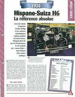 Hispano-Suiza H6 1920 France  Car Auto FICHE FRANCE