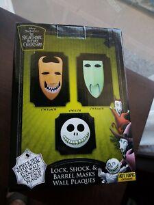 Nightmare Before Christmas Lock Shock & Barrel Masks Decorative Wall Plaques NIB