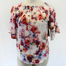 NEW NWT Karen Kane Blouse Ivory Floral Printed Spring Top Set XS Made in USA
