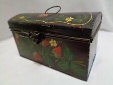 Antique Handpainted Tole Toleware Tin Document Box Strawberries Decor