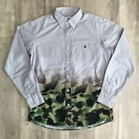 A BATHING APE BAPE Gradation Gray 1st Camo Green Shirt Size M Made in Japan