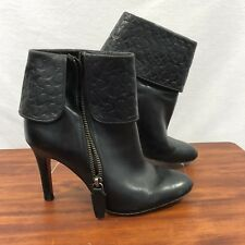 Coach Womens Black Leather Ankle Boots Bottled Cuff Emblem Sz 7B