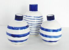 Vases Set/3 Decorative Ceramic Blue Stripe Modern Two Sizes