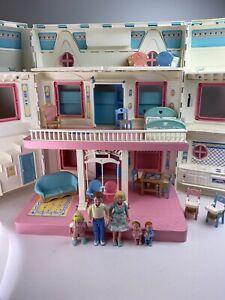 1993 Fisher Price Loving Family Fold Up Dream Dollhouse Lot Mattel 6364 Twins