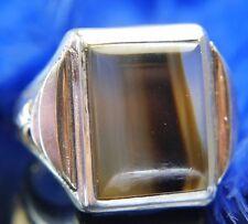 "Vintage 3/4"" Men's Brown Striped Agate .925 Sterling Silver Estate Ring Size 7.5"