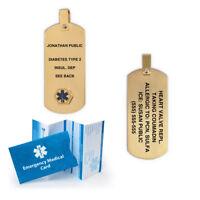 Anodized Titanium Medical Alert ID Pendant. Custom Engraved! Gold Color!