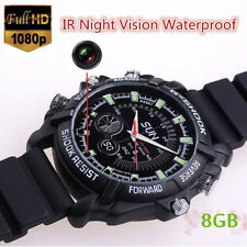 8GB Spy Hidden Watch 1080P Night Vision Video Camera DV DVR Cam Waterproof MXS