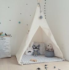 HAN-MM Kid's Foldable Teepee Play Tent, One Four Ploes Style, White