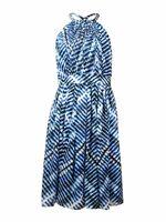 Calvin Klein Women's Printed Chiffon Halter Dress