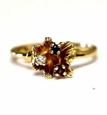 10k yellow gold created ruby sapphire .03ct diamond mothers ring 2.3g estate