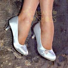 Señoras para mujer Zapatos De Noche De Satén Tacón Bajo Gatito cerrado Toe bombas Novia Tamaño