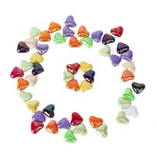 Approx. 50Pcs Colorful Acrylic Heart-Shaped Loose Beads for Jewellery Maki G8H5