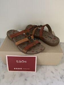 NIB NEW TAOS Women Sandal PRIZE 3 Harvest Multi Leather Adj Slide Shoes 7M