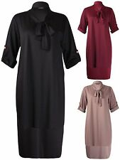 Womens Plus Size Dress Tie Collar Neck Fishtail Turn Up Sleeve Ladies Long Top