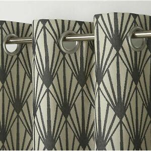 B&Q FREMONT BEIGE/GREY ART-DECO Unlined Single Ring Top Eyelet Curtain Panel X1