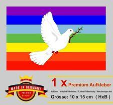 Auto Aufkleber Frieden Peace Rainbow Fahne Regenbogen Taube Symbol Bike Sticker.