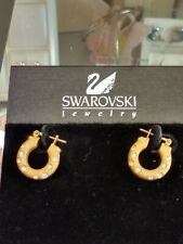 Horseshoe Earrings Swarovski Crystal, Collection Gold Plate w/ Crystals w/ Box