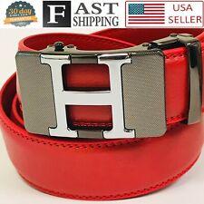 Men's Genuine Leather Golf Dress Belt Adjustable Automatic Buckle Ratchet Belt