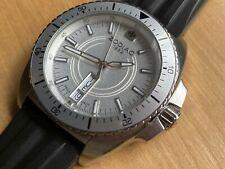 Zodiac SPEED DRAGON Swiss Diver Watch ZO5500 Silver Tone Day Date Black Band