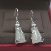 Real S925 Silver Earrings Women's Hetian Jade Trapezoid Women Dangle Earrings