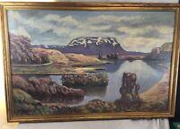 Neat Orig. c1920's signed Melander unsual Landscape Oil / Canvas Painting 22x34