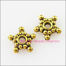 60Pcs Antiqued Gold Tiny Star Flower Spacer Beads Charms 9mm