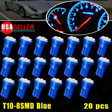 20 PCS Ultra Blue Wedge T10 8SMD Dashboard Instrument Cluster LED Light 12V US