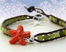 """Brown Orange Starfish Coral 8.7"""" Ankle Coral Reef Leather Wrap Anklet Green"""