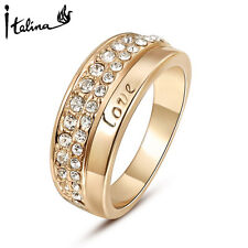 18K Rose Gold Love Engagement Rings Anel With Austrian Crystal Stellux Jewelry