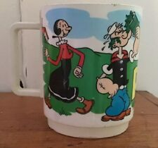 Vtg 1979 King Features Popeye Characters Plastic Cup Olive Oil Sweet Pea Wimpy
