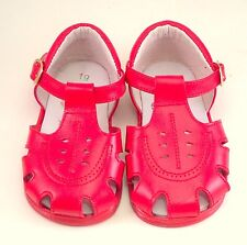 DE OSU - SPAIN - Baby Girls Boys Red Leather Fisherman Sandals - Euro Size 3-5