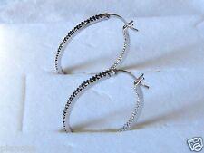 Genuine Black Diamond Oval Hoop Earrings Sterling Silver with Snap Closure