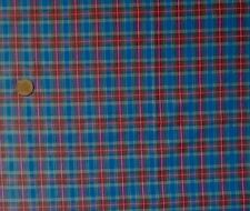 BLUE BASED TARTAN WITH GREEN,RED & WHITE - COTTON FABRIC FQ'S