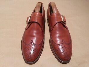 Crockett & Jones Shoes - LANSDOWNE - 7.5 - TAN SINGLE MONKSTRAP BROGUES - NICE