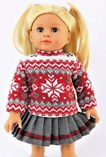 """Winter Fair Isle Snowflake Sweater & Skirt for 18"""" American Girl Doll Clothes"""