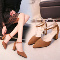 Women Pointed Toe High Heels Block Suede Sandals Evening Party Dress Shoes Size