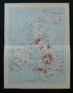Antique Map: British Isles Industries, F S Weller, Cassell's Encyclopedia, 1908