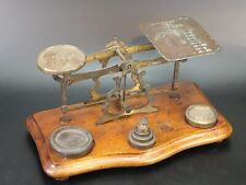 More details for antique english brass postal letter scale with wooden base