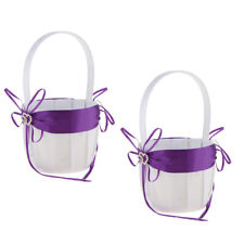 Lot 2 Wedding Ceremony Party Flower Girl Basket Diamantes 2-Heart Bowknot