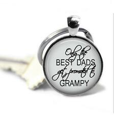 Chain New Baby Announcement Grandfather Family Promoted to Grandpy Glass Top Key