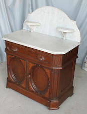 Victorian Marble top Walnut Washstand or Commode