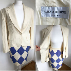 ALBERTA FERRETTI Designer Vintage Skirt And Jacket Two Piece Suit Size 10