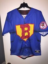 Rare BUFFALO BISONS 2017 Superhero Night Baseball Jersey Team Issued Large bills