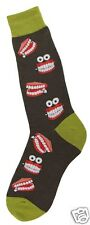 Foot Traffic Men's Pair Black Green Chatty Teeth Mens Cotton Blend Socks New