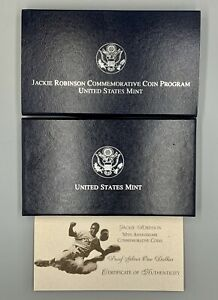 1997 JACKIE ROBINSON COMMEMORATIVE COIN. PROOF  SILVER DOLLAR. US MINT. 90%