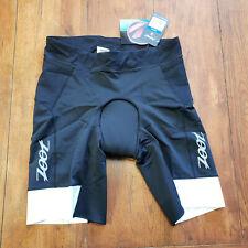 "ZOOT Mens XL Ultra Tri Shorts Black 9"" Carbon Padded Reflective Triathlon XLarge"