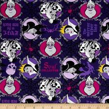 Disney Villains is the New Black Purple background Cotton Quilting Fabric 1/2 YD