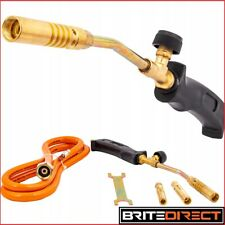 GAS SOLDERING Torch + 1.5m hose + 3 Nozzles ROOFER PLUMBER UK Propane Regulator